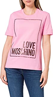 Love Moschino Cotton Jersey T-Shirt_3D Multicolor Glitter Confetti, Fucsia, 48 Donna