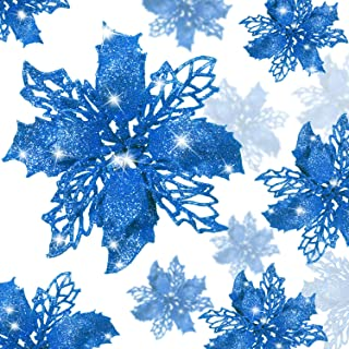 24 Pieces Christmas Glitter Poinsettia Flowers Artificial Christmas Flowers Decorations Wedding Xmas Tree New Year Ornaments (Blue)