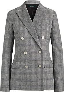 Womens Ryen Pinstripe Office Double-Breasted Blazer Black 16