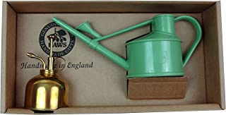 Haws Spray-n-Sprinkle Gift Box with Sage Green Watering Can and Brass Mister