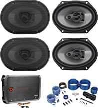 (4) Rockville RV68.3A 6x8 1800w 3-Way Car Speakers+4-Channel Amplifier+Amp Kit