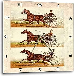 3dRose dpp_80692_3 Collage of 3 Vintage Drawings of Horses N Jockeys Racing Wall Clock, 15 by 15-Inch (Renewed)