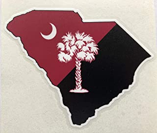 """South Carolina - State Palmetto Tree and Crescent Moon Decal - 5""""x4"""" - Split Garnet and Black"""