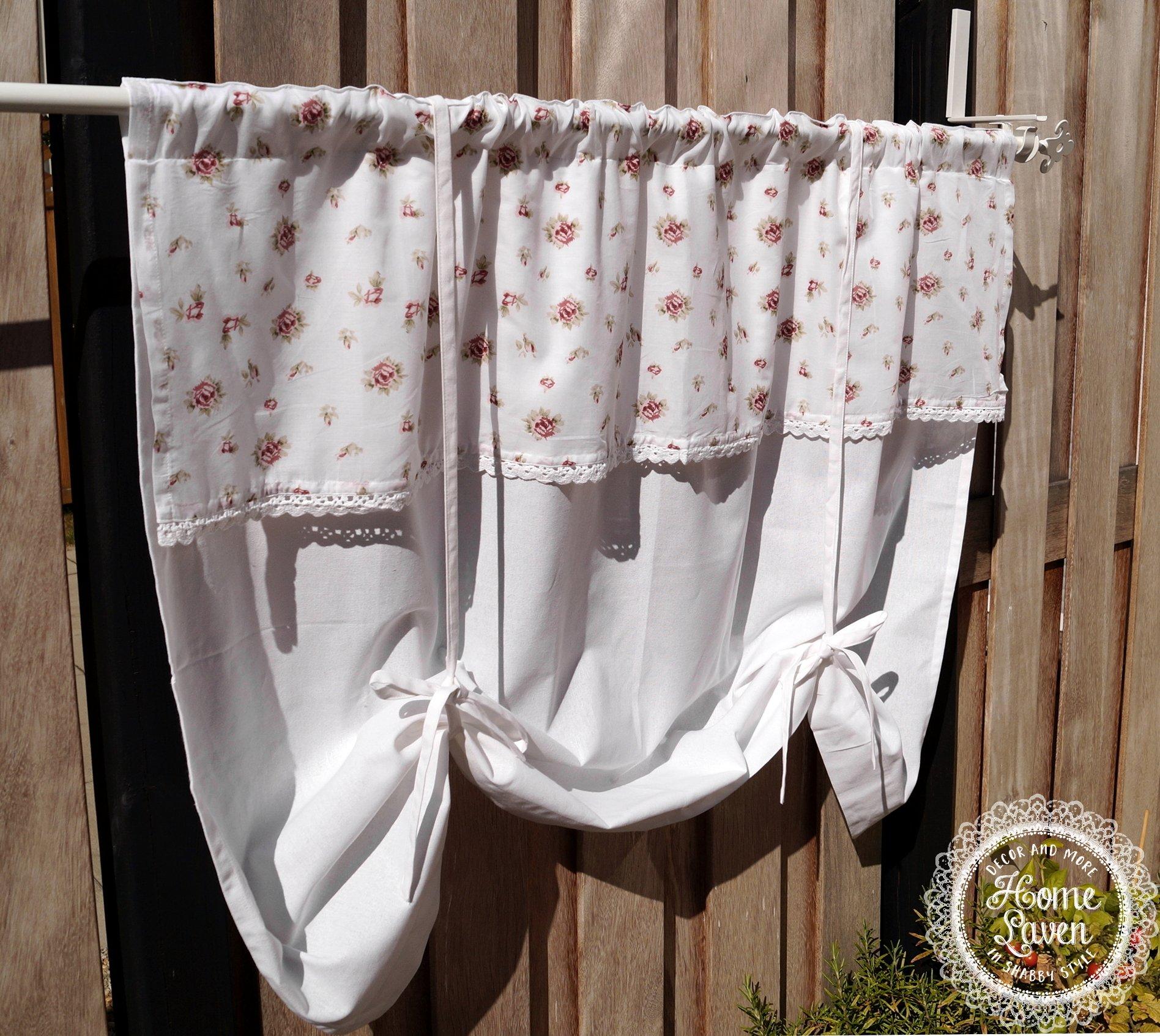 Visillo cortinas cortina Estor Cortina Rosas Voile 120 x 90 cm ...
