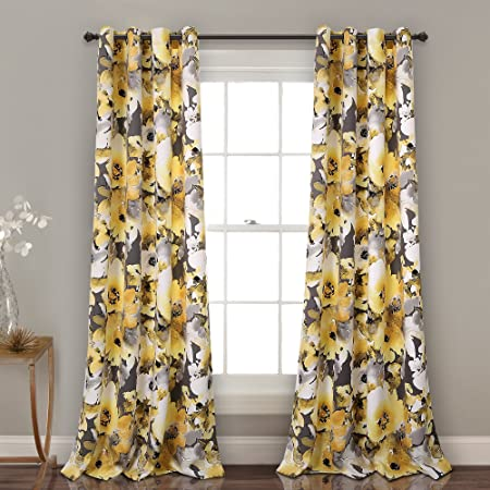 Lush Decor 16t002398 Floral Watercolor Room Darkening Window Curtain Panel Pair 84 X 52 Navy And Pink Amazon Ca Home Kitchen