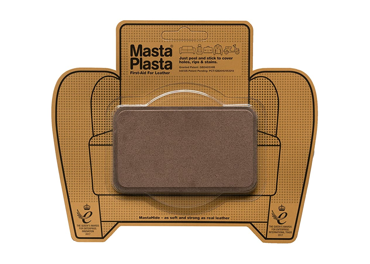 MastaPlasta Self-Adhesive Patch for Leather and Vinyl Repair, Medium, Suede, Brown - 4 x 2.4 Inch - Multiple Colors Available