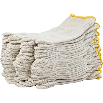 """24 Pack Beige String Knit Gloves 10"""" Large Size. Washable Glove with Elastic Knit Wrist 10 gauge. Cotton Polyester Gloves. Plain Seamless Workwear Gloves. Protective Industrial Work Gloves for Men. Wholesale price."""