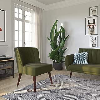 Novogratz Brittany Upholstered Accent, Green Linen Chair