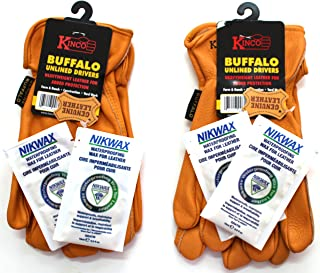 Kinco - 81, Buffalo Leather Work Gloves for Men, 2-pack of Kinco's Toughest & Durable with Nikwax Waterproofing (Large)
