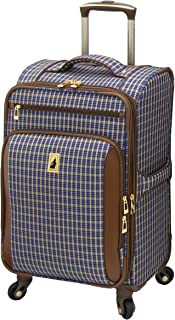 Kensington 21 Inch Expandable Spinner Carry-on, Blue Tan Plaid
