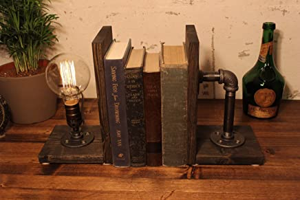 Industrial bookend Steampunk table pipe lamp with Globe Edison bulb and Weathered wood base