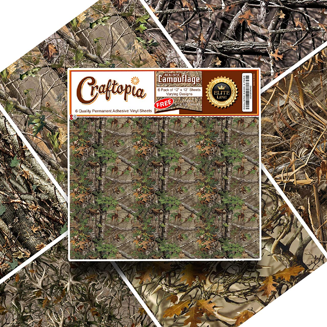 New Vinyl Camo Self Adhesive Assorted Vinyl Sheets (6+1 Pack) | Best Camoflage Vinyl for Cricut, Silhouette Cameo, Craft Cutters, Plotters, Letters, Decals (Realistic Real Camouflage 12