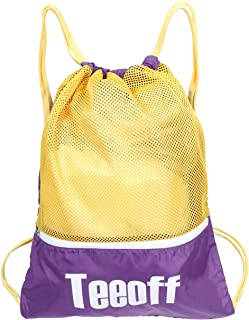 Teeoff Drawstring Bags Color Block Gym Sack Storage Backpack Bag with Zipper Pocket (Purple+Gold)