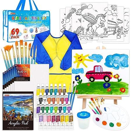 Paquete de 69 juegos de pintura para niños, juego de arte Shuttle Art para niños con pintura acrílica de 30 colores, caballete de madera, lienzos, almohadilla de pintura, pinceles, paleta