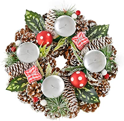 """Home-X Gingham Pinecone Christmas Wreath Candle Holder, Artificial Advent Wreath, Winter Home Decorations, (11"""" Diameter)"""