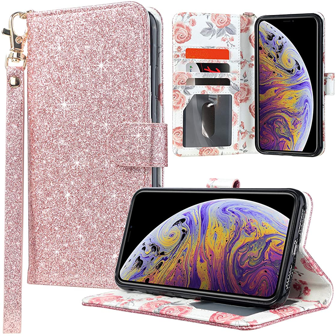 UARMOR Wallet Case for iPhone Xs Max, Glitter Bling Sparkle Flip Folio Case with Credit Card Holder Wrist Strap Kickstand and Closure Function Full Body Protective Shiny PU Leather Cover, Rose Gold