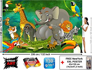 Children's Room Wall Mural – Jungle Animals – Playroom Picture Decoration Jungle Animals Party Zoo Wildlife Park Nature Safari Adventure Lion Elephant (132.3 x 93.7 Inch / 336 x 238 cm)