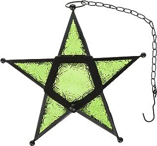 Glass Star Hanging Candle Lantern - Green
