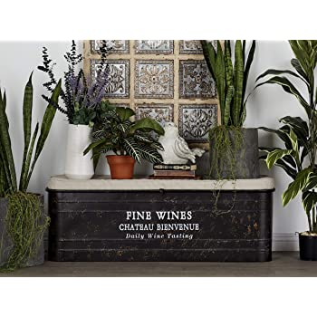 """Deco 79 93712 Beige & Brown Metal Storage Bench with Cushioned Seat & Hand-Painted Script, 48"""" x 17"""""""