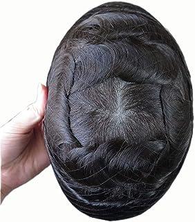 Super Natural Mens Hair Piece 100% Human Hair Undetectable Mens Toupee Hair Systems Ultra Thin Skin V Looped Hair #1B