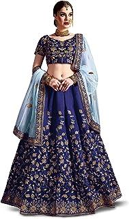 Zeel Clothing Women's Raw Silk Semi Stitched Lehenga Choli (Navy Blue , Free Size)