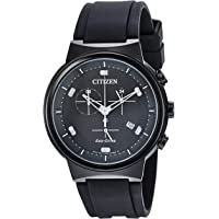 Citizen AT2405-01E Paradex Eco-Drive Chronograph Black Dial Men's Watch with Polyurethane Strap