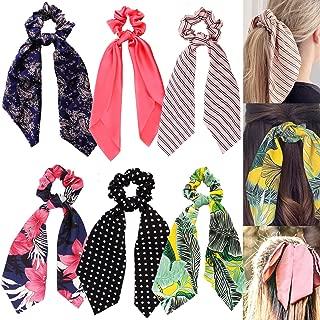 6 Packs TROPICAL Large Scarf Hair Scrunchies, Polka Dot Striped Floral Bow Ribbon, Chiffon Silk Strong Elastic Hair Bands Scrunchy, Bun Hair Ties Bobbles, Scarves Ponytail Holder for Women Ladies Kids