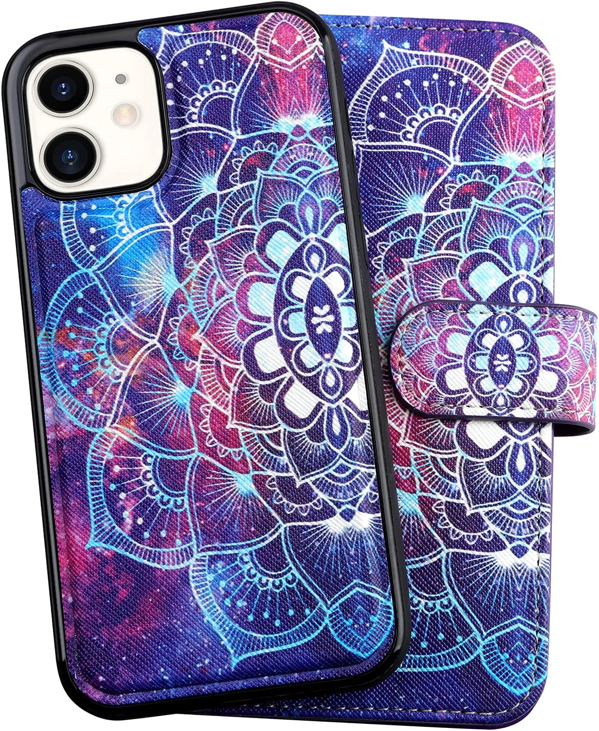 Vofolen for iPhone 12 Pro Case Folio Flip Wallet Credit Card Holder [9 Card Pocket] Women Girl 2-in-1 Detachable Protective Hard Shell Magnetic Leather Cover for iPhone 12/ 12 Pro Mandala Violet