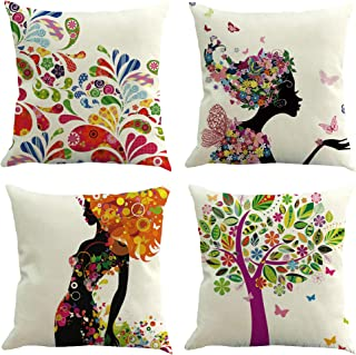 Housse de coussin 40x40 cm lot de 4, taie oreiller aspect lin pour coussin décoratif, coussin, coussins de canapé, housses...