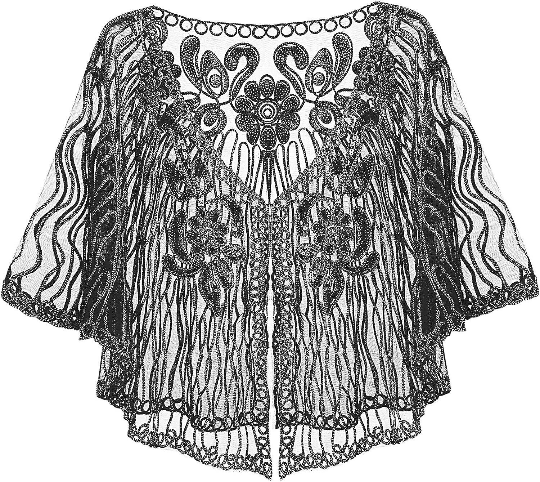 Sholeno Women 1920s Sequins Sheer Cape V Neck Half Sleeve Vintage Bolero Shrug Evening Party Shawl