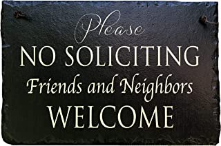 "No Soliciting Sign for Home and BusinessStylish Laser Cut Oval 5/"" X 4/"" Hea..."