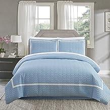 Chic Home Faige 3 Piece Duvet Cover Set Hotel Collection Two Tone Banded Print Zipper Closure Bedding - Decorative Pillow ...