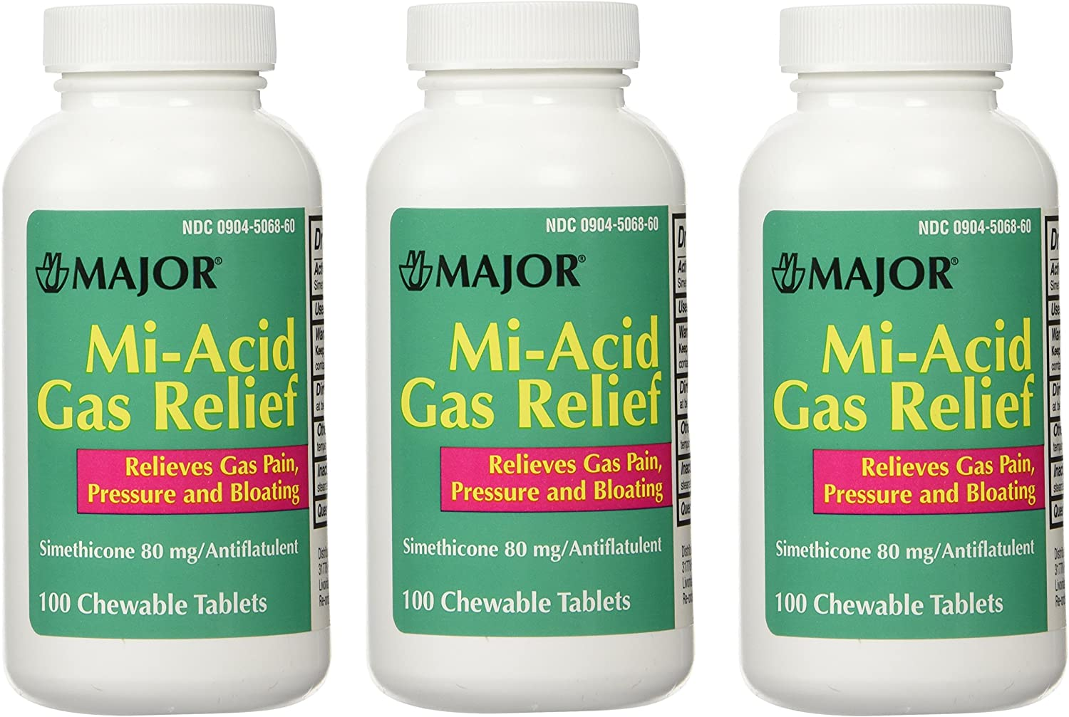 Simethicone 80mg Chewable Anti-Gas Generic for Mylanta Gas 3 Pack 3 X 100 ea. Total 300 Chewable Tablets : Health & Household