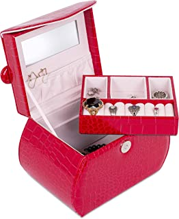 Internet's Best Patent Leather Purse-Shaped Jewelry Case Organizer | Multi Compartment Jewelry Tray for Earings, Necklaces & Bracelets | Large Compartment Space Under Jewelry Tray | Red