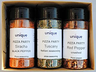 Spicy Italian seasoning Pizza Party set with 3 pizza spice toppings by Unique Flavors