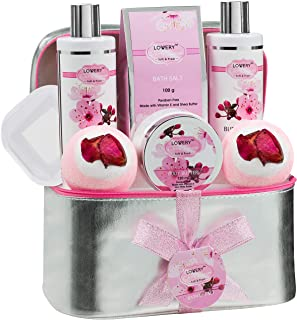 Bath and Body Spa Gift Basket Set for Women – Cherry Blossom Home Spa Set with Fragrant Lotions, 2 Extra Large Bath Bombs, Mirror and Silver Reusable Travel Cosmetics Bag and More
