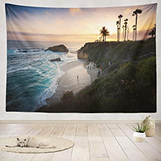 ASOCO Tapestry Wall Handing Sunset Beach Orange California California Beach Surf Landscape People Sunset Wall Tapestry for Bedroom Living Room Tablecloth Dorm 60X80 Inches