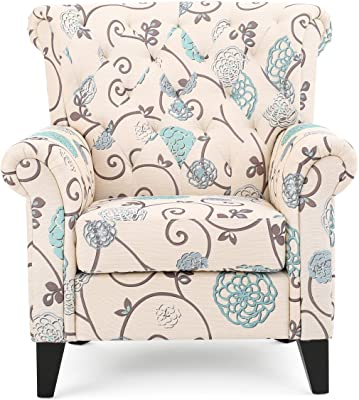 Christopher Knight Home Greggory Floral Fabric Tufted Chair, White / Blue