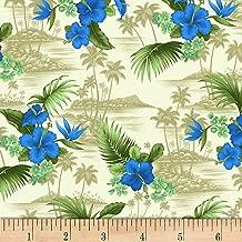 David Textiles Scenic Tropical Poplin Blue/Khaki Fabric Fabric by the Yard