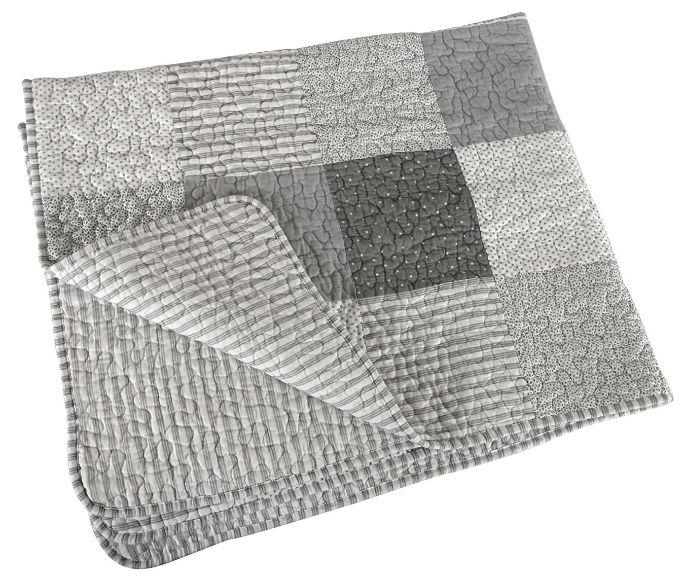 Stephan Baby Reversible Pieced Crib Quilt, Gray and White Stripes and Dots with Straight Hem