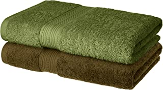 Amazon Brand - Solimo 100% Cotton 2 Piece Bath Towel Set, 500 GSM (Sepia Brown and Olive Green)