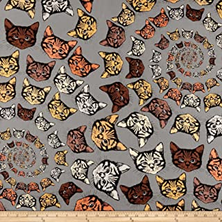 Alexander Henry Finity Spiral Cats Brown Fabric by The Yard