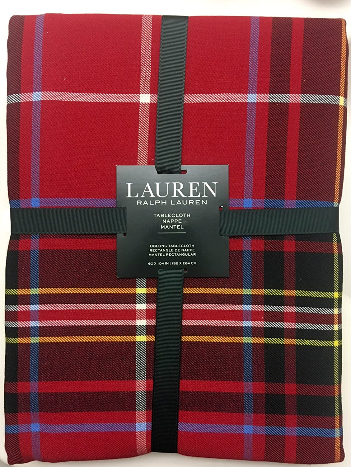 Lauren Ralph Lauren Baker Holiday Plaid Red 60 x 104 Inch Tablecloth