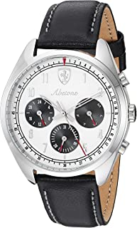 Scuderia Ferrari Men'S White Dial Black Leather Watch - 830569