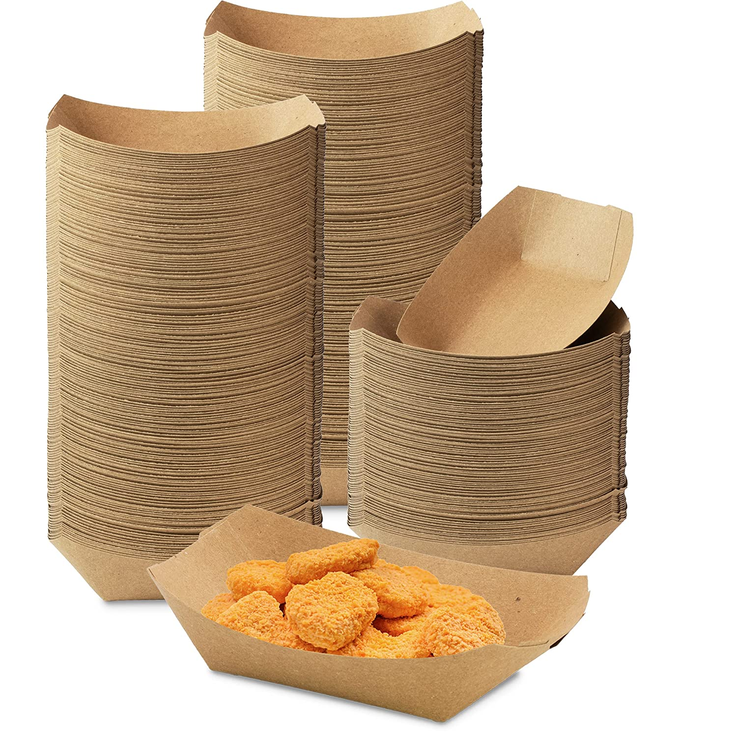 [1000 Pack] 0.50 lb Heavy Duty Disposable Kraft Brown Paper Food Trays Grease Resistant Fast Food Paperboard Boat Basket for Parties Fairs Picnics Carnivals, Holds Tacos Nachos Fries Hot Corn Dogs