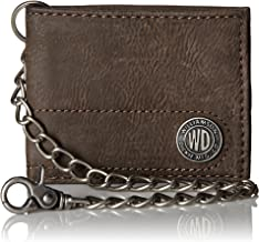 Dickies Men's Bifold Chain Wallet-High Security with ID Window and Credit Card Pockets, brown casual, One Size
