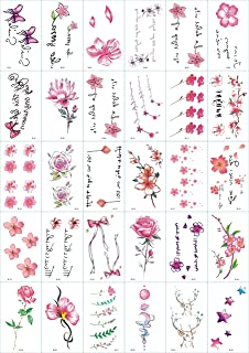 LIDELE Temporary Tattoos Flower butterfly Fake Tattoo non-permanent tattoos Pack of 30 Sheets (C)