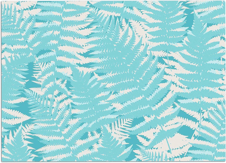 KESS InHouse JM1018ADM02 Jacqueline Milton Fun Fern  Sky bluee Aqua Dog Place Mat, 24  x 15