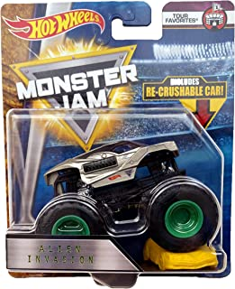 Hot Wheels Monster Jam Alien Invasion Truck with Re-crushable Car 1:64 Scale