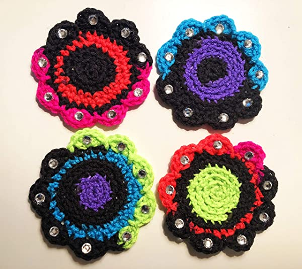 Drink Coasters Neon With Sequins Crochet Kitchen Accessory Handmade USA By Peacefully You